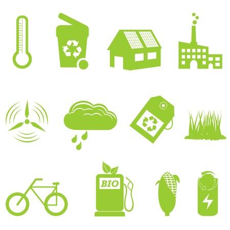 Jeu Eco et le recyclage icône liées Banque d'images - 10756083