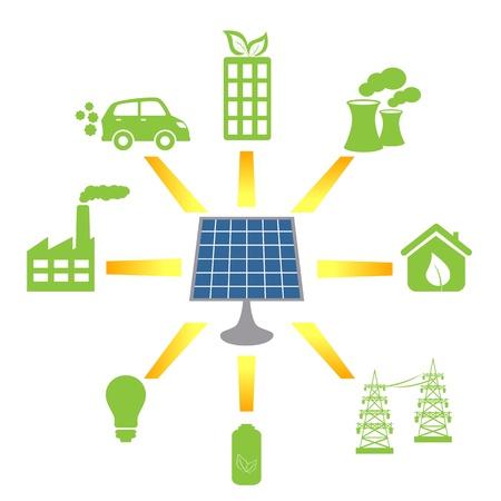 クリーンな代替エネルギーと燃料を生成する太陽電池パネル  イラスト・ベクター素材