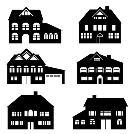 Various single family houses icon set Vector