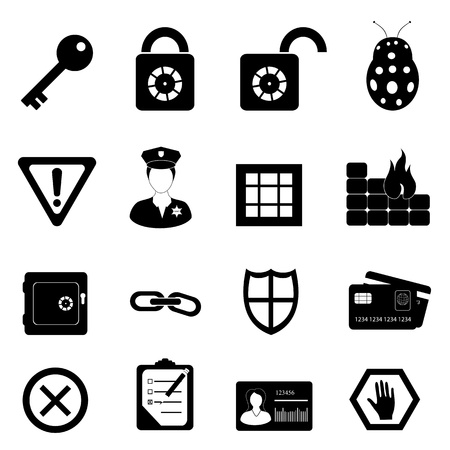 checklist: Security and safety related icon set Illustration