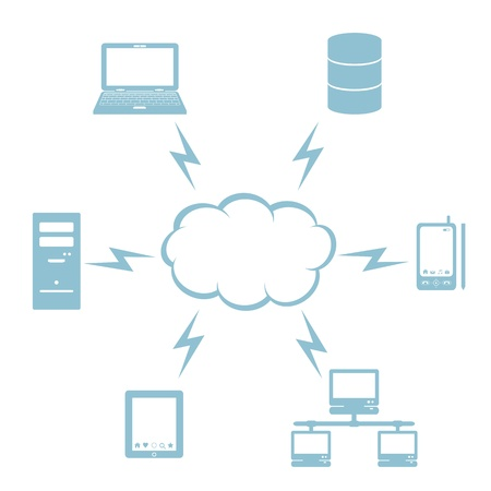 databank: Cloud computing met computers en apparaten Stock Illustratie
