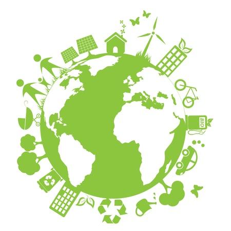 Groene en schone omgeving symbolen Stock Illustratie