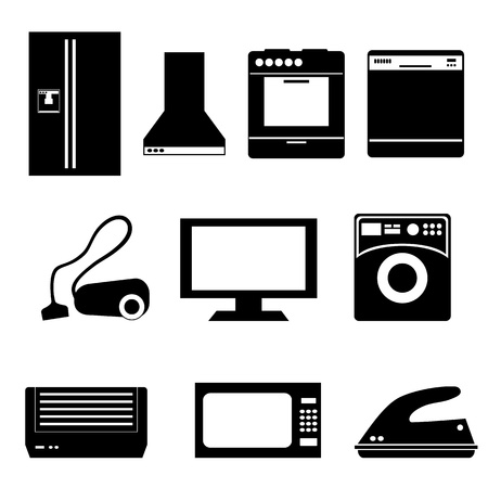 Huishoudelijke apparaten geïsoleerd op wit