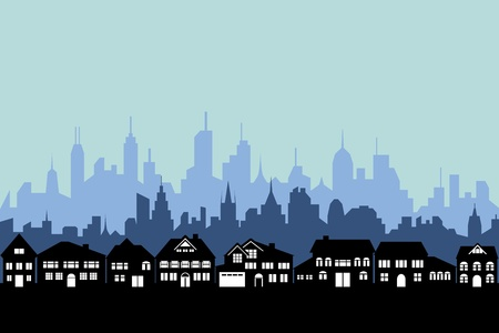 silhouette maison: Les banlieues et la silhouette urbaine ville Illustration