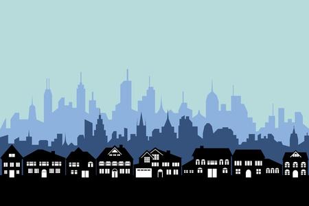 Voorsteden en de stedelijke stad silhouet