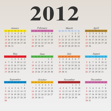 2012 calendar with simple clean layout Vector