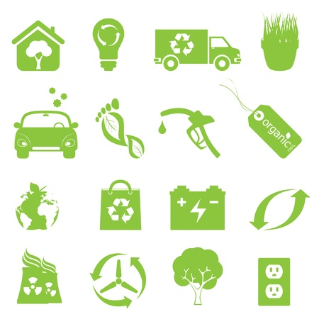 clean environment: Recycling and clean environment icon set in green