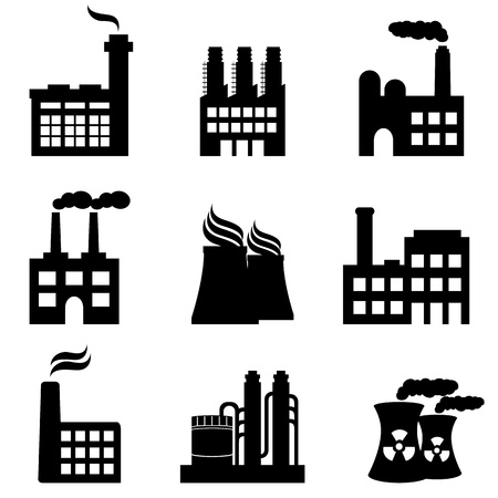 Edifici industriali, fabbriche e impianti di potenza icona set Vettoriali