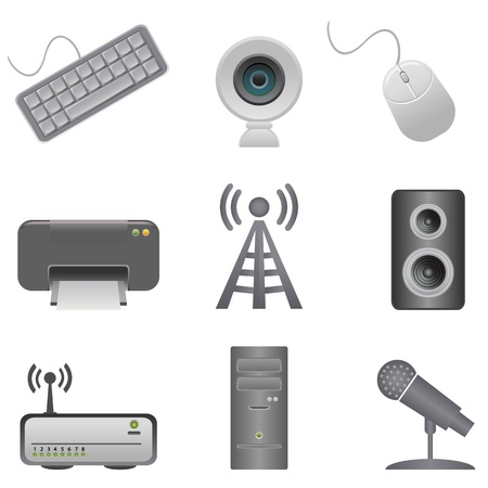 Various computer peripherals and accessories Stock Vector - 11095617