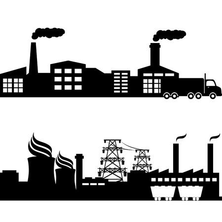 工場、原子力発電所、送電線
