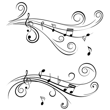 clave de fa: Notas de música ornamental con remolinos sobre fondo blanco