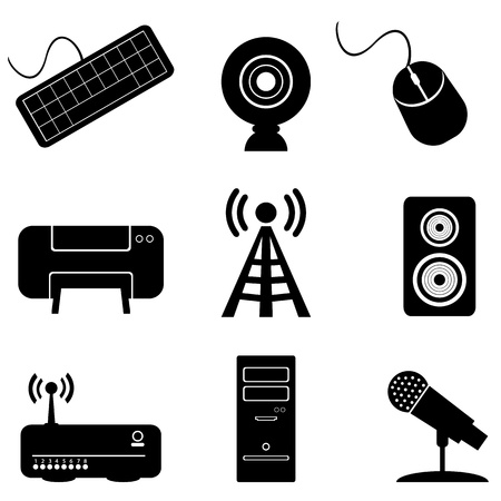 Computer parts and peripherals silhoutte Vector