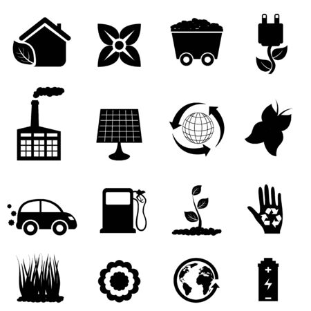 Environment and eco icons in black