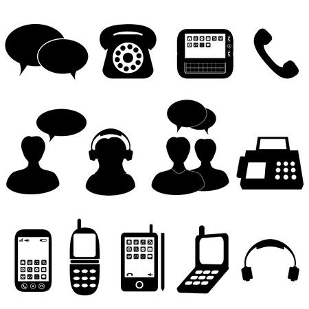 telephone headsets: Comunicaciones telef�nicas y los iconos y s�mbolos Vectores