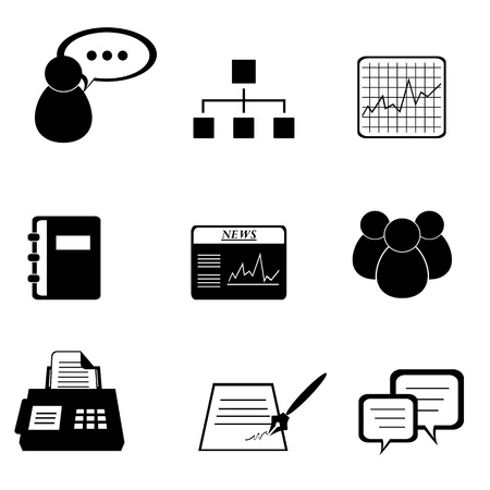 fax: Business icon set in black Illustration