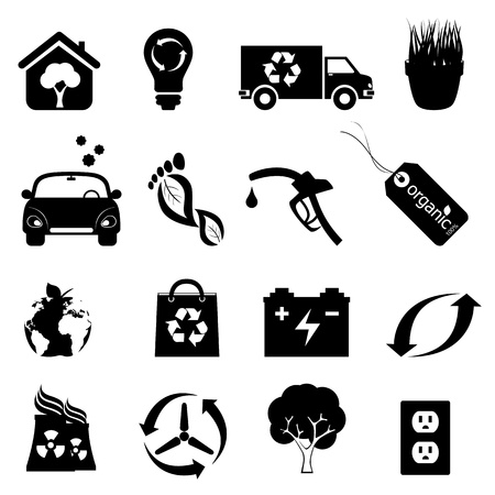 carbon footprint: Recycling, clean energy and environment icons Illustration