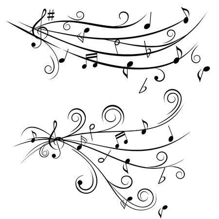 Music notes on swirl shaped staves Иллюстрация