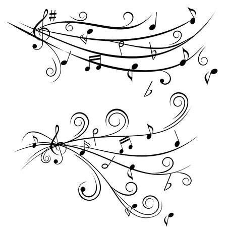 Muziek noten op swirl vormige stokken Stock Illustratie