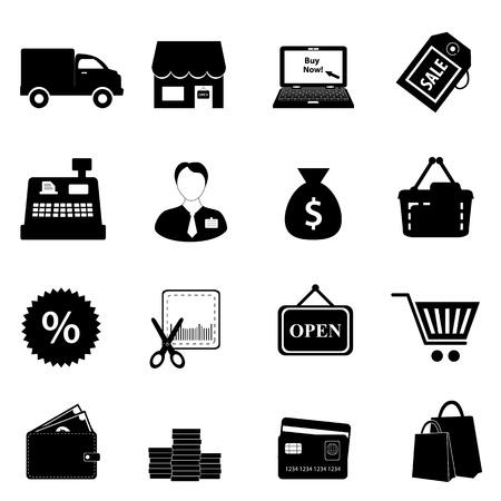 retail shop: Compras conjunto de iconos en color negro Vectores