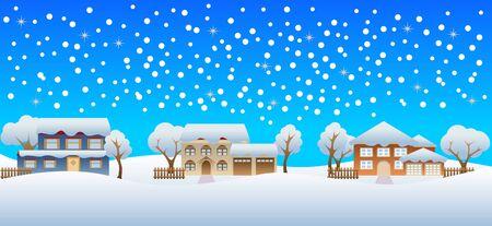 雪の冬の住宅に注ぐ  イラスト・ベクター素材