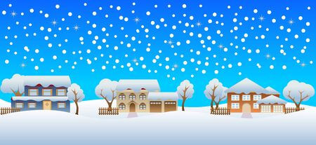 Snow pouring on houses in winter Illustration