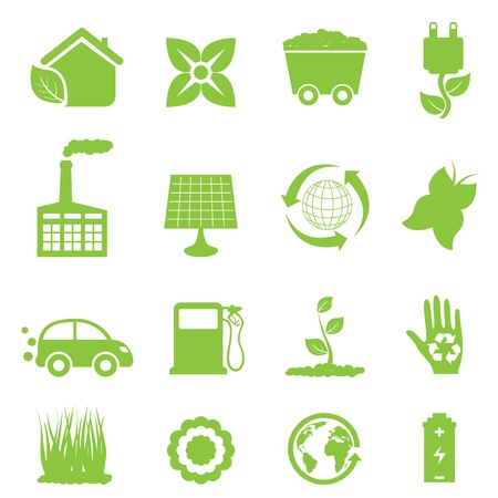 car factory: Recycling and clean energy icon set