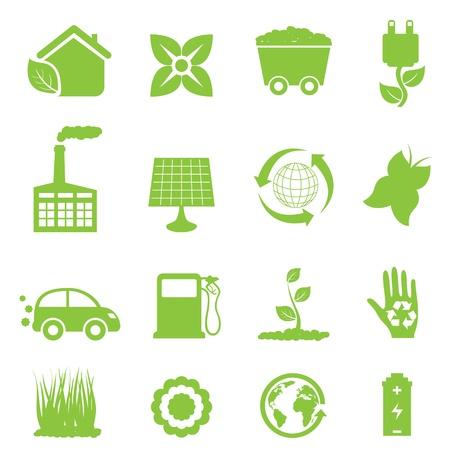 Riciclaggio e set di icone di energia pulita