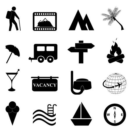 lägereld: Fritid och rekreation ikoner på vit bakgrund Illustration