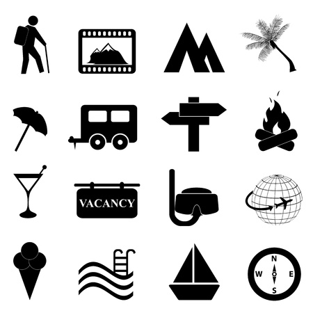 people hiking: Leisure and recreation icon set on white background Illustration