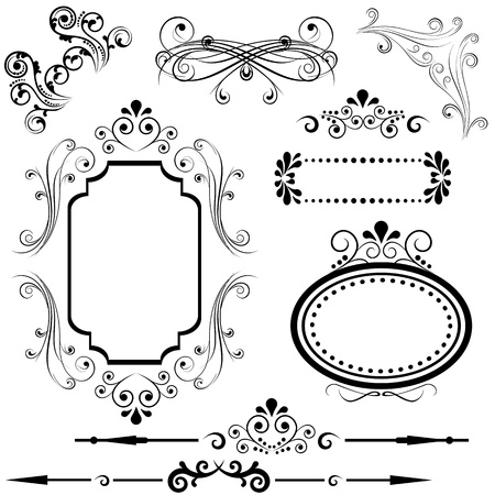 Calligraphic border and frame designs Иллюстрация