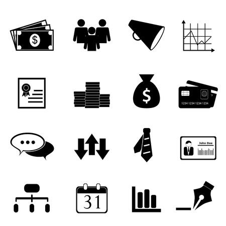 달러: 비즈니스 및 금융 아이콘이 검은 색으로 설정 일러스트