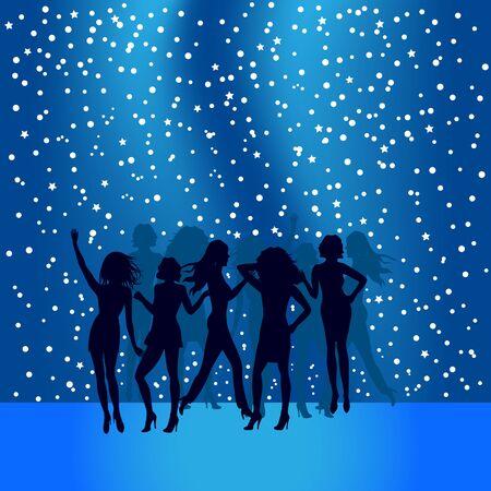 People dancing on disco dance floor