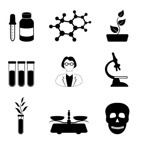 Wetenschap, biologie en scheikunde gerelateerde icon set in het zwart Stock Illustratie