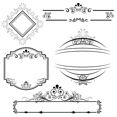 scroll border: Calligraphic border and frame designs Illustration