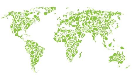 bioedilizia: Mappa del mondo fatto di icone eco Vettoriali