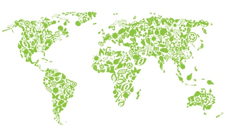 Wereldkaart gemaakt van eco iconen