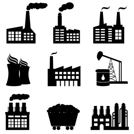 coal: Factory, oil drilling, nuclear power plant and energy icons