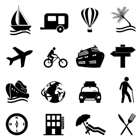 Leisure, travel and recreation icon set on white background Illustration