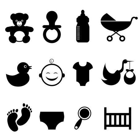 cigue�a: Beb� y el conjunto de iconos del reci�n nacido