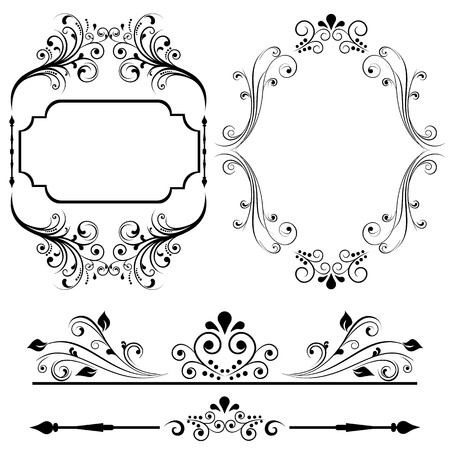 Border and frame designs for cards or invitations Vector