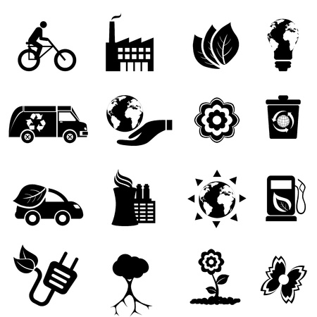 Recycling, eco, green environment and clean energy icon set