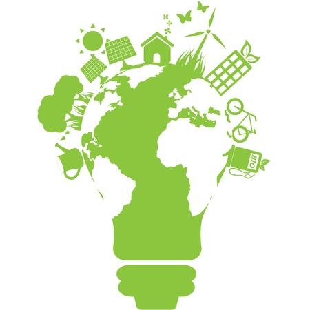 regenerative energie: Sauberer Strom und Energie Symbole Illustration