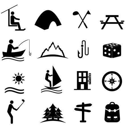 ricreazione: Tempo libero, sport e tempo libero icona set Vettoriali