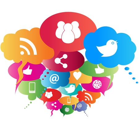 connected world: Social network symbols in speech balloons Illustration