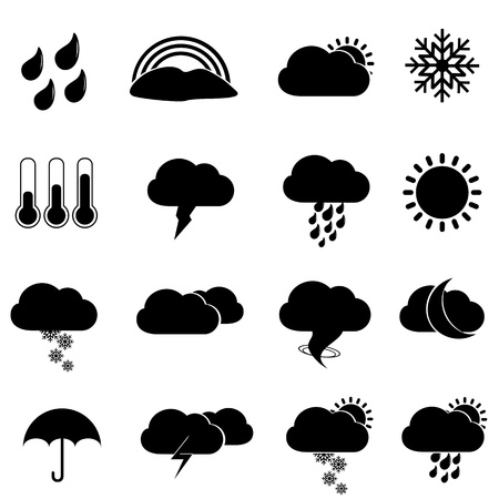 Weather icon set in black Stock Vector - 12067288