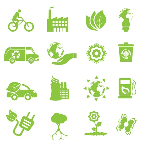 Ecology and environment icon set Ilustrace