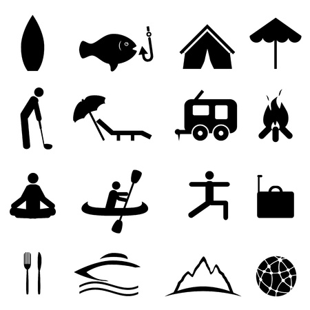 surfboards: Sports and recreation icon set