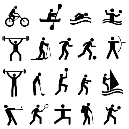 Sports icon set in black Stock Vector - 12305066