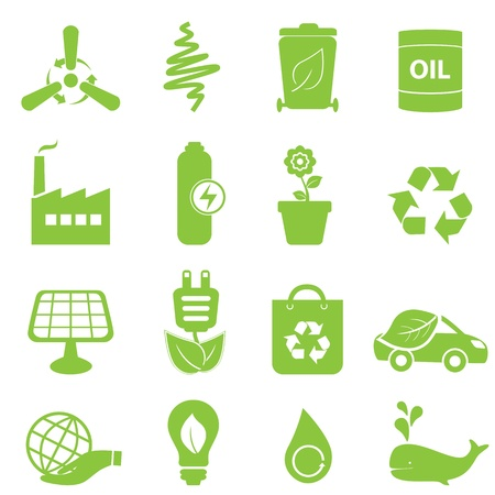 eco energy: Eco, recycling and clean energy icons