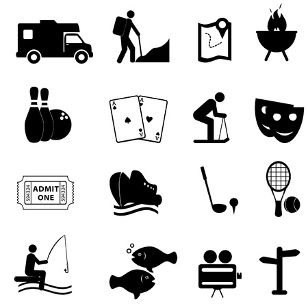 Leisure and fun activities icon set Vector